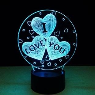 KBK Market I Love You 3D Lamba LED Gece Lambası 7 Renk